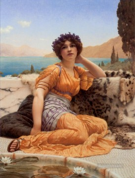 God Art - With Violets Wreathed and Robe of Saffron Hue Neoclassicist lady John William Godward
