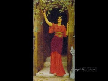 Rape Art - Young Girl Picking Grapes 1902 Neoclassicist lady John William Godward