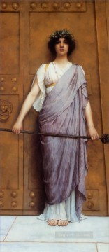 God Art - the Gate of the Temple Neoclassicist lady John William Godward