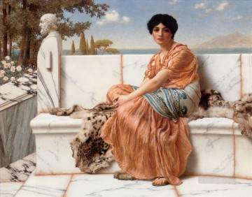 Day Painting - In the Days of Sappho Neoclassicist lady John William Godward