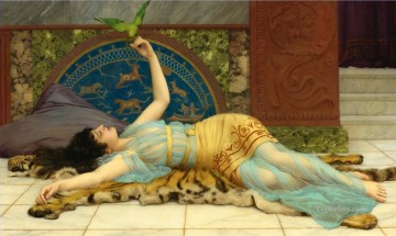 lake pond Painting - John William Godward Sweet Idleness  A Pompeian Fishpond Dolce Far Niente