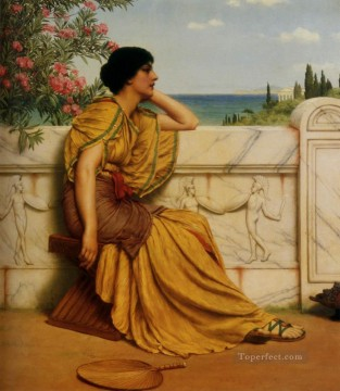 Hour Painting - Leisure Hours Neoclassicist lady John William Godward