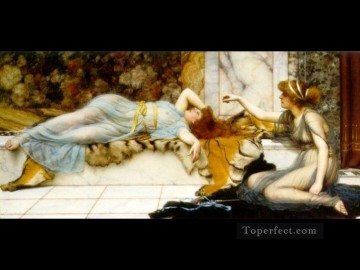 1895 Oil Painting - Mischief and Repose 1895 Neoclassicist lady John William Godward