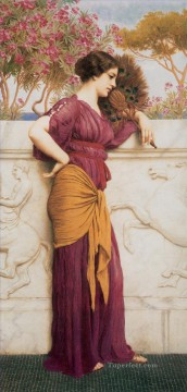 The Peacock Fan 1912 Neoclassicist lady John William Godward Oil Paintings