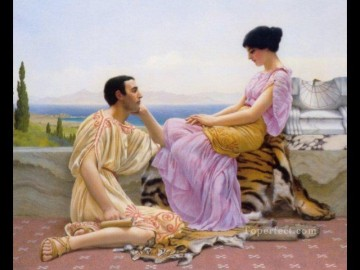 Youth and Time 1901 Neoclassicist lady John William Godward Decor Art