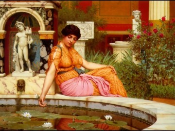 Lily Painting - Lily Pond 1901 Neoclassicist lady John William Godward