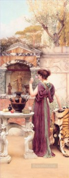 the Garden Shrine Pompeii Neoclassicist lady John William Godward Oil Paintings