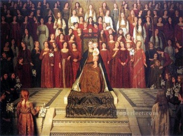 Thomas Cooper Gotch Painting - The Mother Enthroned Pre Raphaelite Thomas Cooper Gotch