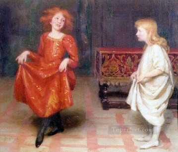 Thomas Cooper Gotch Painting - The Dancing Lesson Pre Raphaelite Thomas Cooper Gotch