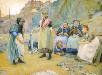 Thomas Cooper Gotch Painting - Sharing Fish Pre Raphaelite Thomas Cooper Gotch