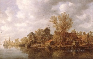 Jan van Goyen Painting - Village at the River Jan van Goyen