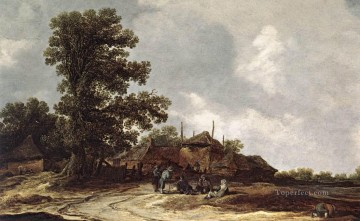 Jan van Goyen Painting - Farmyard with Haystack Jan van Goyen
