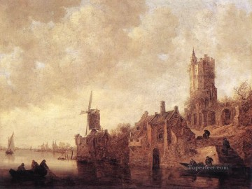 Jan van Goyen Painting - River Landscape with a Windmill and a Ruined Castle Jan van Goyen