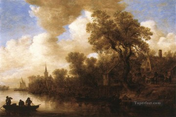 Jan van Goyen Painting - River Scene Jan van Goyen