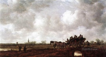 Jan van Goyen Painting - Horse Cart on a Bridge Jan van Goyen