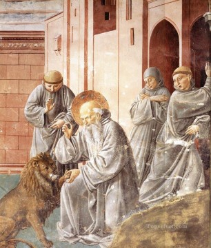 lion art - Jerome Pulling a Thorn from a Lions Paw Benozzo Gozzoli