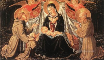 Benozzo Gozzoli Painting - Madonna and Child with Sts Francis and Bernardine and Fra Jacopo Benozzo Gozzoli