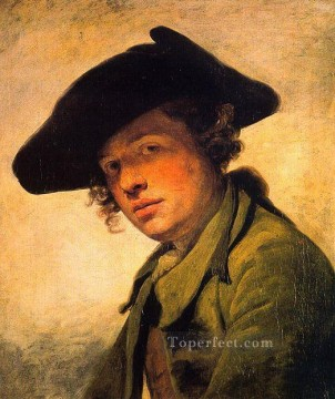 hat Oil Painting - A Young Man in a Hat portrait Jean Baptiste Greuze