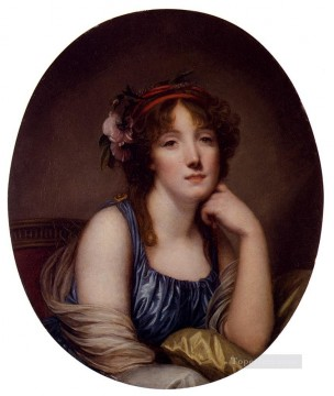 Artists Oil Painting - Portrait Of A Young Woman Said To Be The Artists Daughter figure Jean Baptiste Greuze