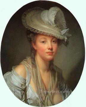 White Art - Young Woman in a White Hat portrait Jean Baptiste Greuze