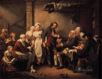 Baptiste Oil Painting - L Accordee de Village figure Jean Baptiste Greuze
