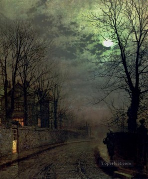 A Lane In Headingley Leeds city scenes John Atkinson Grimshaw Oil Paintings