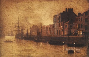 Harbour Painting - Evening Whitby Harbour city scenes John Atkinson Grimshaw