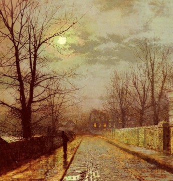Lane In Cheshire city scenes John Atkinson Grimshaw Oil Paintings