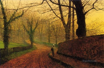 Stapleton Park near Pontefract city scenes John Atkinson Grimshaw Oil Paintings