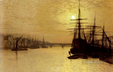 London Art - The Thames Below London Bridge city scenes John Atkinson Grimshaw