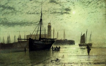 lighthouse Painting - The Lighthouse At Scarborough city scenes John Atkinson Grimshaw