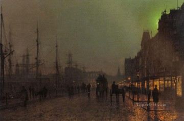 Gourock Near The Clyde Shipping Docks city scenes John Atkinson Grimshaw Oil Paintings