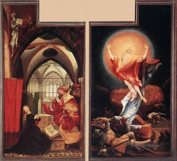 Grunewald Canvas - Annunciation and Resurrection Renaissance Matthias Grunewald