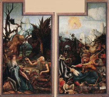 Grunewald Canvas - Visit of St Antony to St Paul and Temptation of St Antony Renaissance Matthias Grunewald