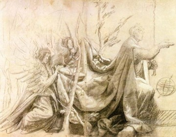 renaissance Painting - Kneeling King with Two Angels Renaissance Matthias Grunewald