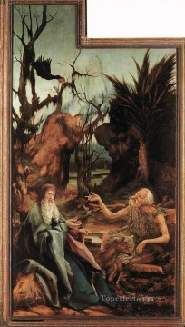 Sts Paul and Antony in the Desert Renaissance Matthias Grunewald Oil Paintings