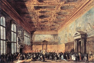 Francesco Guardi Painting - Audience Granted by the Doge Venetian School Francesco Guardi