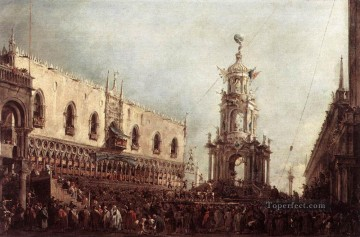 Francesco Guardi Painting - Carnival Thursday on the Piazzetta Venetian School Francesco Guardi