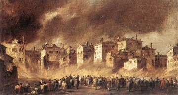 Francesco Guardi Painting - Fire in the Oil Depot at San Marcuola 2 Venetian School Francesco Guardi