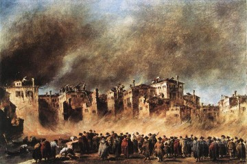 Francesco Guardi Painting - Fire in the Oil Depot at San Marcuola Venetian School Francesco Guardi