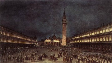 Francesco Guardi Painting - Nighttime Procession in Piazza San Marco Venetian School Francesco Guardi