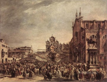 Francesco Guardi Painting - Pope Pius VI Blessing the People on Campo Santi Giovanni e Paolo Venetian School Francesco Guardi