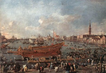 Francesco Guardi Painting - The Doge on the Bucintoro near the Riva di Sant Elena Venetian School Francesco Guardi