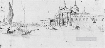 Francesco Canvas - San Giorgio Maggiore drawing Venetian School Francesco Guardi