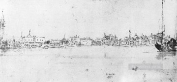 Francesco Canvas - The Molo from the Bacino drawing Venetian School Francesco Guardi