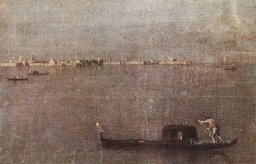 Francesco Guardi Painting - Gondola in the Lagoon Venetian School Francesco Guardi