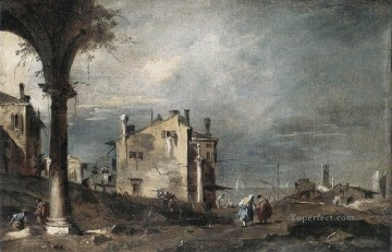 Francesco Canvas - Capriccio with Venetian Motifs Venetian School Francesco Guardi