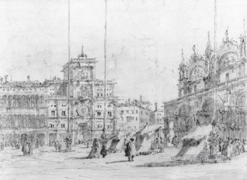 Francesco Guardi Painting - The Torre del Orologio drawing Venetian School Francesco Guardi