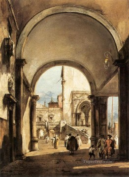 Francesco Guardi Painting - An Architectural Caprice Venetian School Francesco Guardi