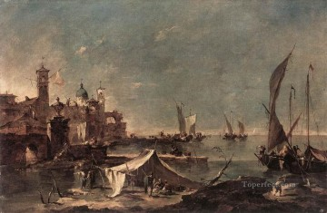 Francesco Guardi Painting - Landscape with a Fishermans Tent Venetian School Francesco Guardi